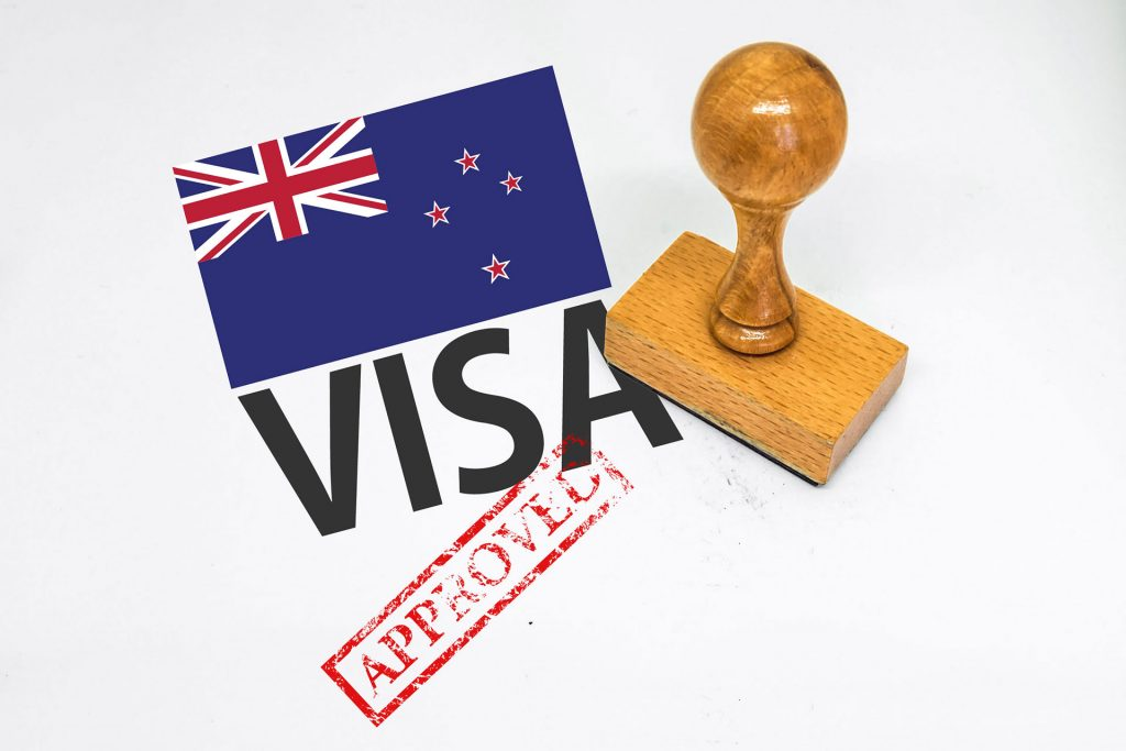 New Zealand flag with Visa stamp